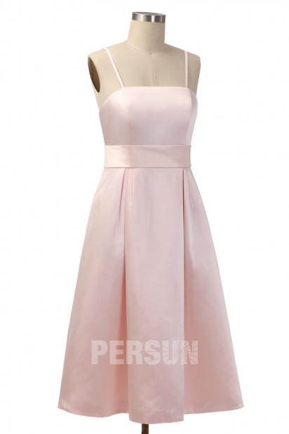 Robe demoiselle d'honneur simple mi longue en satin rose pâle