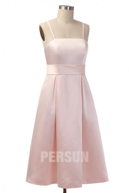 Robe demoiselle d'honneur simple mi longue en satin rose pâle