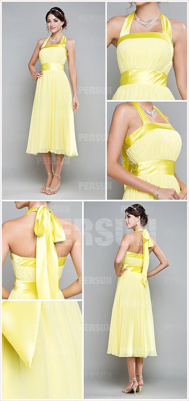 robe jaune courte à col halter en mousseline pour cortège mariage