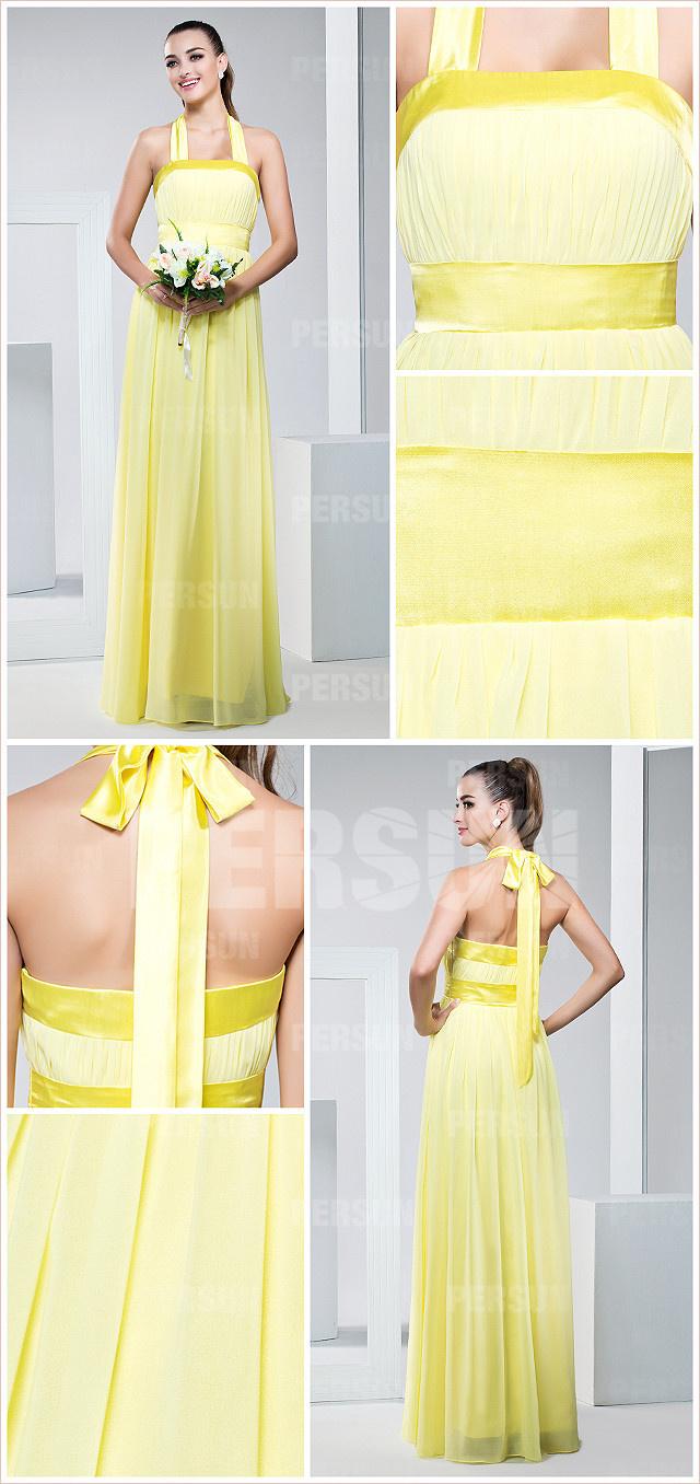robe de gala jonquille en mousseline de soie