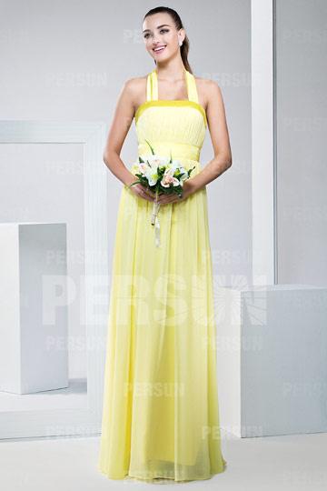 Robe demoiselle d'honneur jaune plissée à col américain au ras du sol en mousseline