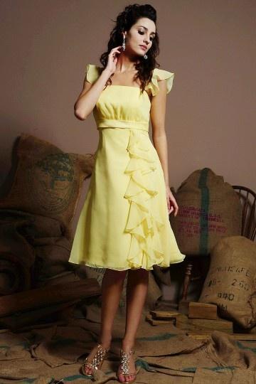 Robe demoiselle d'honneur jaune à mancherons en mousseline