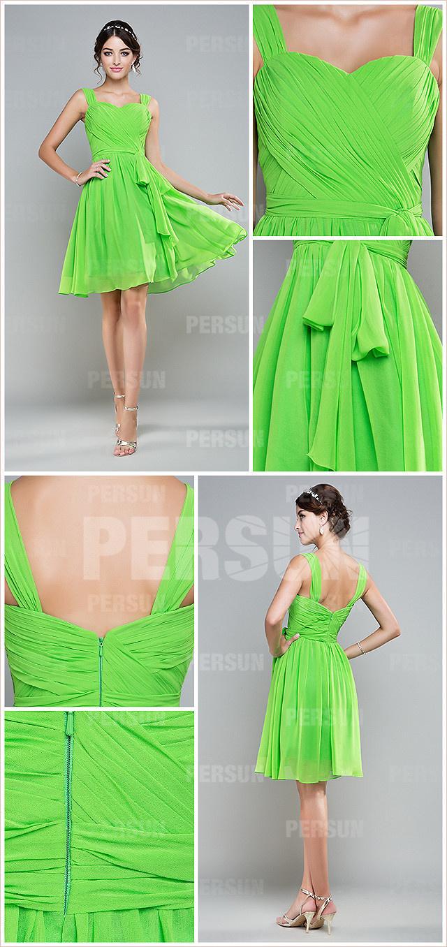 Robe chic verte plissée aux bretelles taille ceinturée longueur genoux pour mariage