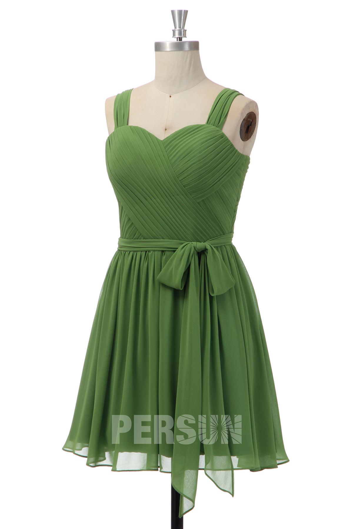 Robe demoiselle d'honneur verte courte plissé avec bretelle pas cher