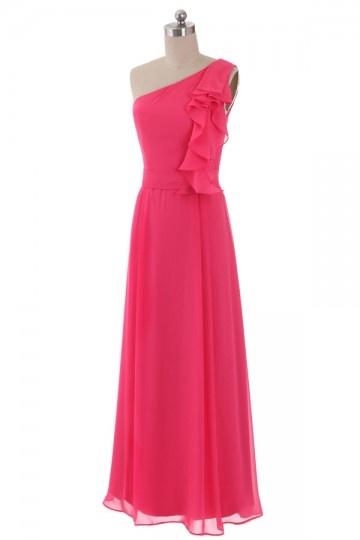 Robe demoiselle d'honneur rose fushia longue élégante à col asymétrique volanté