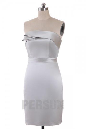 Robe demoiselle d'honneur colonne plissée bustier en satin courte au genou