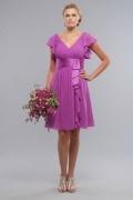 Elegantes A-Linie V-Ausschnitt kurzes Brautjungfernkleider aus Chiffon