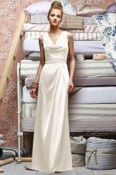 Pleats V neck Chiffon Cowl A line Formal Bridesmaid Dress
