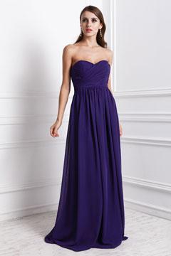 Robe violette bustier coeur pour demoiselle d'honneur