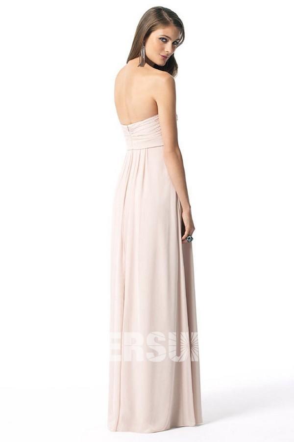 Robe demoiselle d'honneur plissée longue sol à dos ouvert