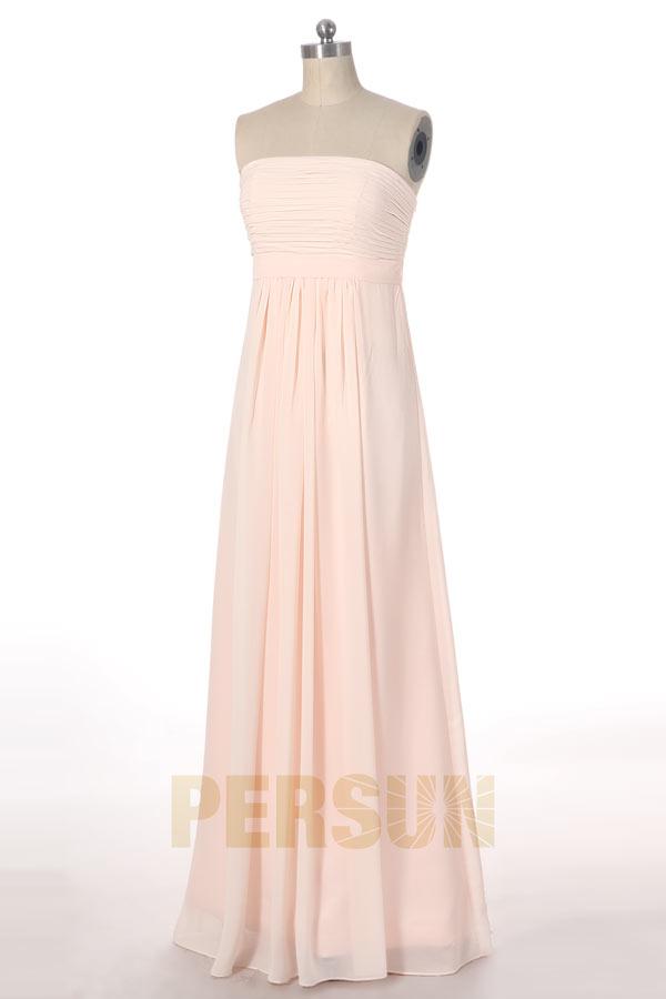 robe de soirée longue simple nude clair bustier droit plissé