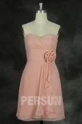 Herz Ausschnitt Empire knielanges rosa Brautjungfernkleid