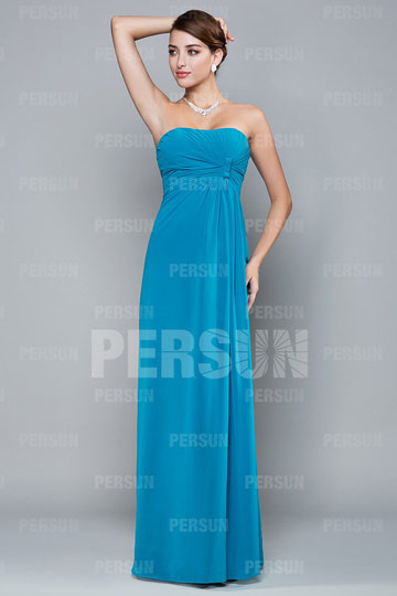 Robe de soirée empire bleu turquoise bustier drapé coupe colonne