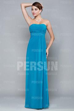 Robe de soirée bleue bustier ruchée colonne