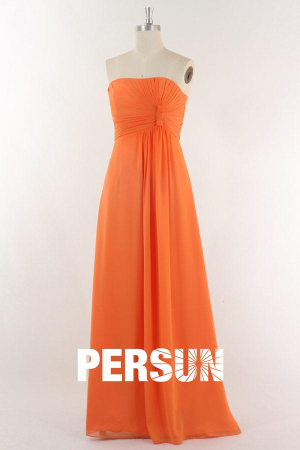 robe de cérémonie droite orange simple bustier plissé