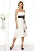 Ribbon Strapless A line Tea length Formal Bridesmaid Dress bicolour