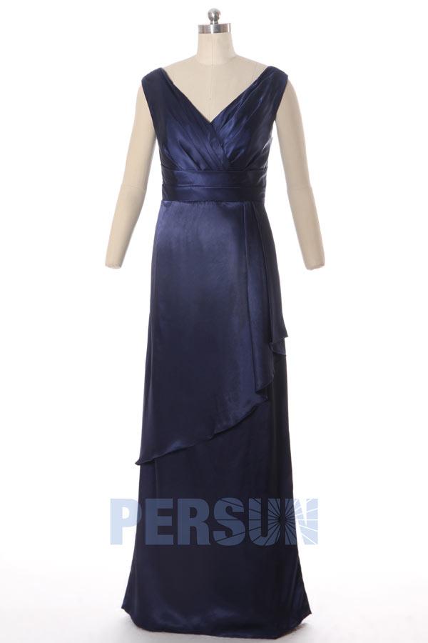 Robe de soirée bleu marine longue simple col V cascade