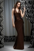 Ribbon V neck Satin Column Long Formal Bridesmaid Dress