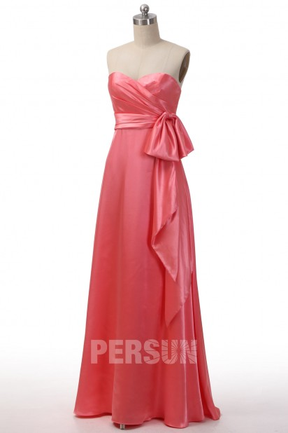 Robe cocktail longue empire satinée rose corail pastèque bustier coeur