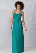 Pleats Ribbon Halter Taffeta A line Formal Bridesmaid Dress