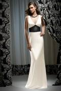 Belt V neck Satin White Column Formal Bridesmaid Dress