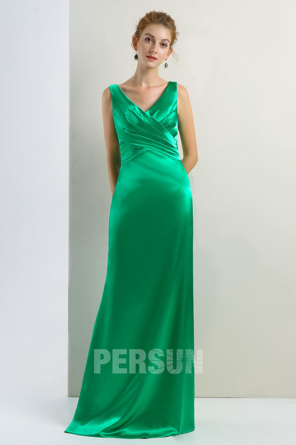 robe de soirée longue simple vert col v plissé en satin