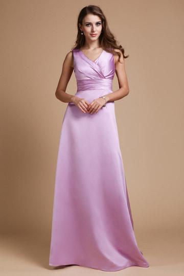 Robe de soirée lilas empire longue ceinturée col V