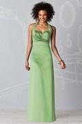 Ruching Halter Satin Green A line Formal Bridesmaid Dress