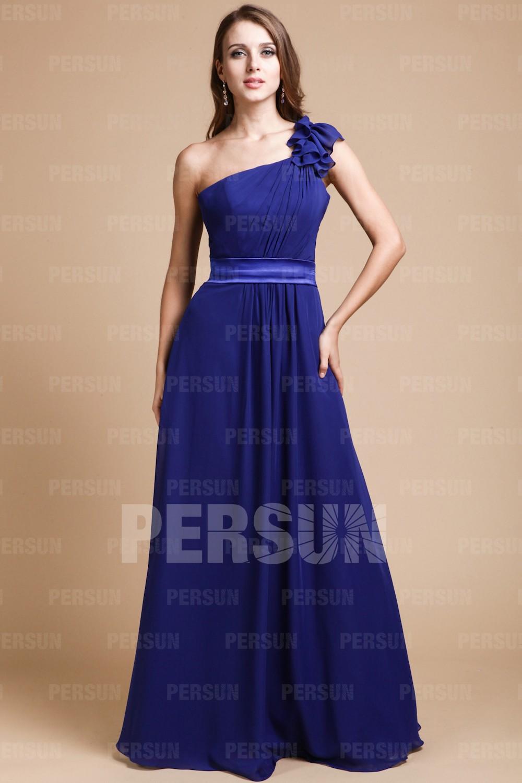 Robe demoiselle d'honneur plissée épaule asymétrique en mousseline
