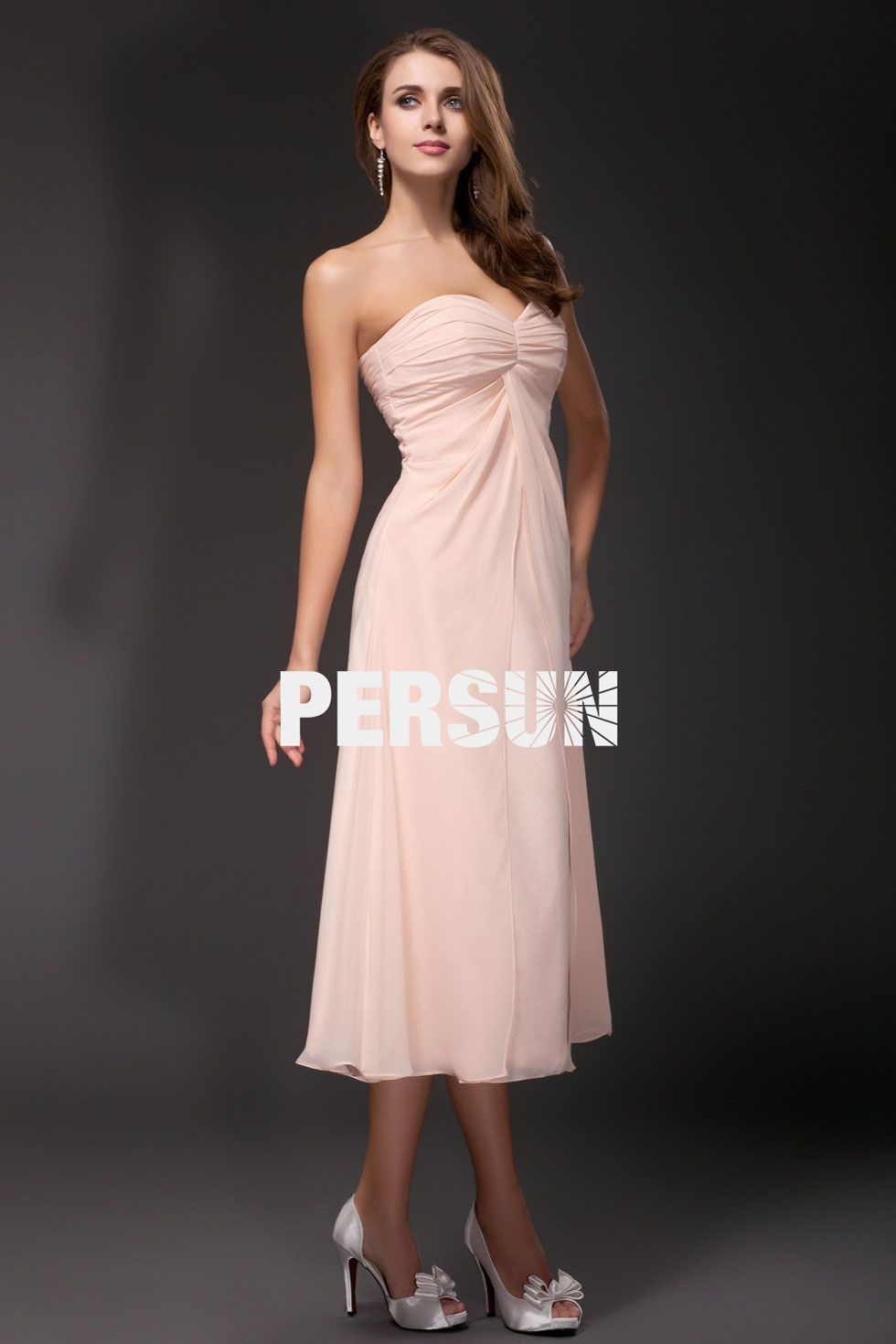 robe cocktail rose pastel bustier coeur simple empire