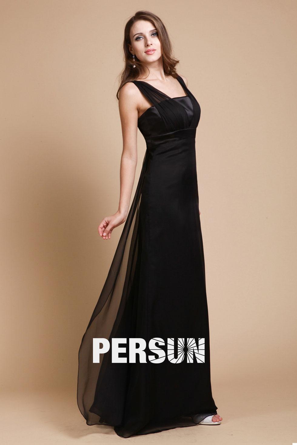 robe soirée noire simple longue mousseline