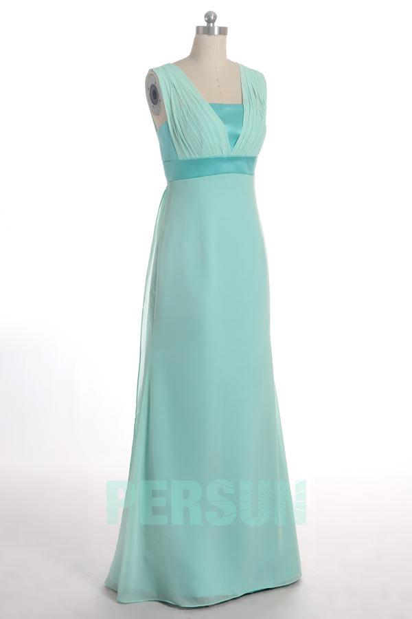 robe demoiselle honneur longue bleu tiffany élégante empire
