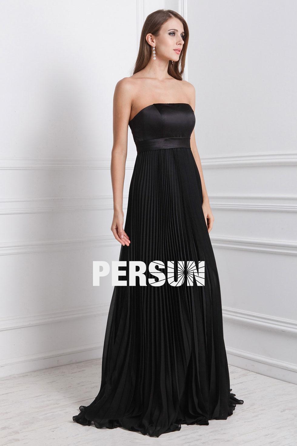 simple robe noire longue pour soirée et mariage