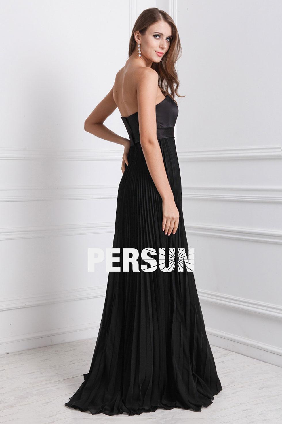 robe bustier droit à jupe plissée