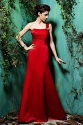Beaded One Shoulder Satin Red Mermaid Formal Bridesmaid Dress