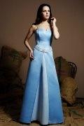 Belt Strapless Satin Blue A line Long Formal Bridesmaid Dress