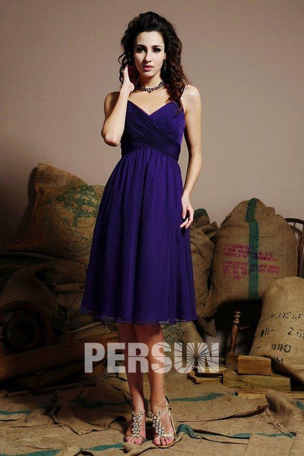 Simple robe prune col v courte au genou pour demoiselle d'honneur