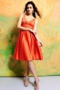 Ruched V neck Satin Orange Knee Length A line Formal Bridesmaid Dress