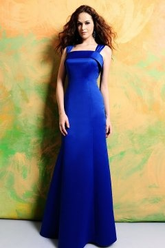 Robe longue chic en satin bleu royale