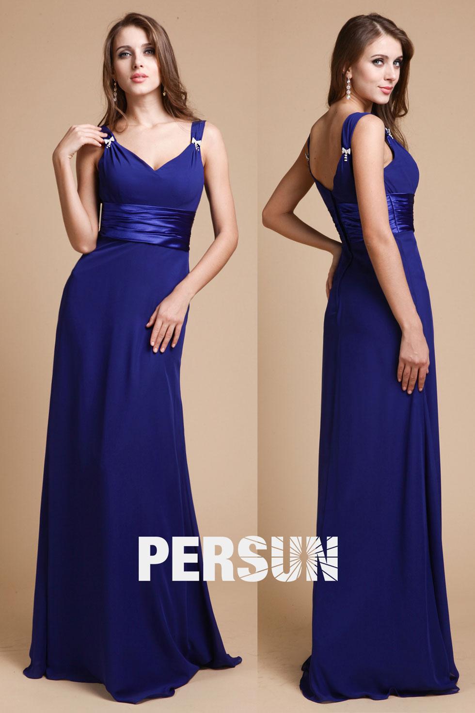 robe de soirée simple en bleu roi pas cher pour mariage