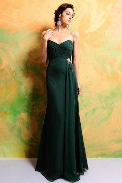 Elégante robe de soirée longue bustier verte pour un mariage