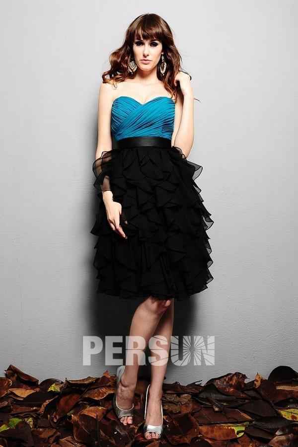 robe de soirée noire et bleu jupe tutu bustier coeur plissé