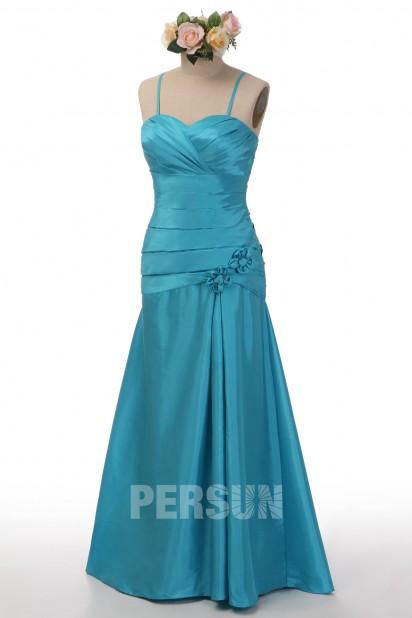 Robe de bal sirène taffetas bleu turquoise