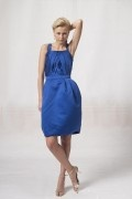 Pleated Straps Satin Knee Length A line Formal Bridesmaid Dress