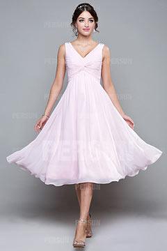 Robe demoiselle d'honneur rose col v au dessous de genou en mousseline Ligne A