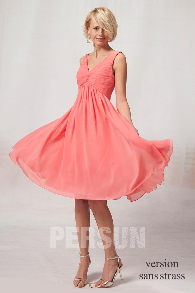 robe d'été mi-longue rose saumon empire col v bustier drapé