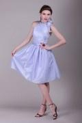 Bow Round Neck Taffeta A line Knee Length Formal Bridesmaid Dress