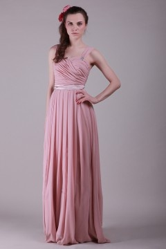 Robe carnation rose demoiselles d'honneur longue ruchée bretelles à lacet