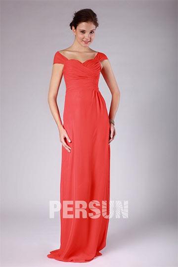 Robe rouge pour demoiselles d'honneur longue ruchée manches bonnets empire