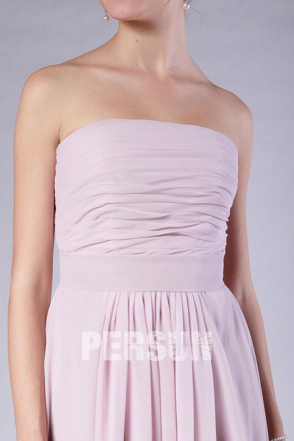 Chic robe rose bustier plissé empire pour demoiselle d'honneur